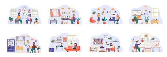videoconferentiebundel van scènes met karakters van platte mensen.