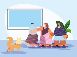 mensen en huisdieren in huis