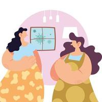 vrouwen thuis voor preventie van coronavirus.