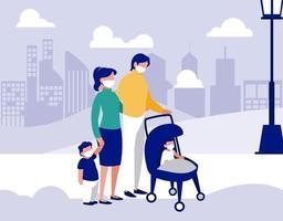 familie met maskers bij park voor stads vectorontwerp