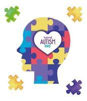 wereld autisme dag met hoofdprofiel en puzzelstukjes