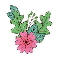 schattig bloem roze met tak en bladeren geïsoleerd pictogram