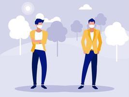 mannen met maskers buiten bij park vector design