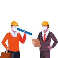 uitvoerend en architect met masker en helm