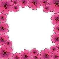 frame van schattige bloemen roze kleur geïsoleerde pictogram