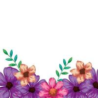 schattige bloemen roze en paars met bladeren