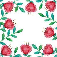 frame van bloemen rood met takken en bladeren