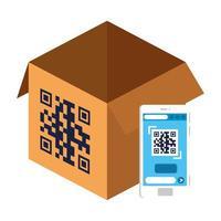 qr-code over doos en smartphone vectorontwerp