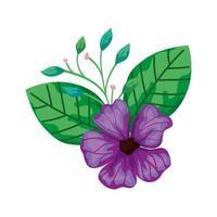schattige bloem paars met takken en bladeren geïsoleerd pictogram