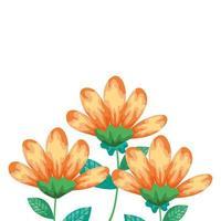 schattige bloemen gele kleur met takken en bladeren geïsoleerd pictogram