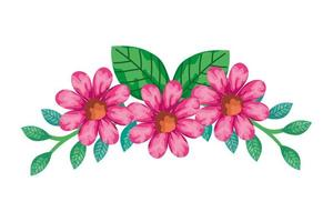 decoratie van schattige bloemen roze kleur met takken en bladeren