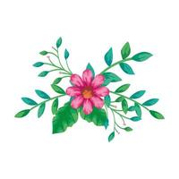 schattig bloem roze met takken en bladeren geïsoleerd pictogram