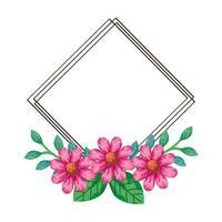 frame van bloemen roze kleur met takken en bladeren natuurlijk