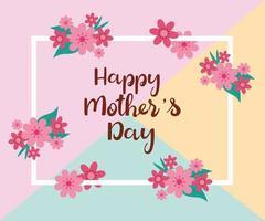 gelukkige moederdag kaart met vierkant frame en bloemendecoratie