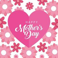 gelukkige moederdag kaart met hart en bloemendecoratie