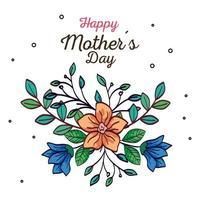 gelukkige moederdag kaart met bloemen en bladeren decoratie