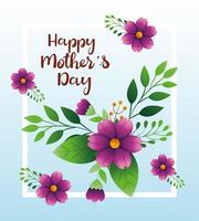 gelukkige moederdag kaart met bloemen en bladeren decoratie vector