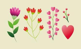 set van schattige bloemen met takken en bladeren