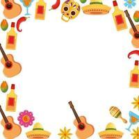 Mexicaanse gitaren tequila flessen chili schedels cocktails en bloemen frame vector ontwerp
