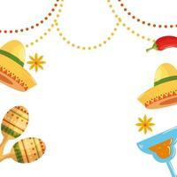 geïsoleerde Mexicaanse hoeden maracas cocktail en chili vector ontwerp