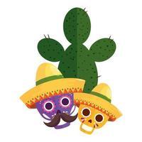 geïsoleerde Mexicaanse schedels met hoeden en cactus vectorontwerp
