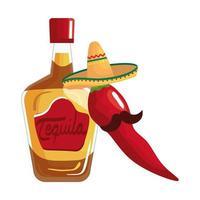 Mexicaanse tequilafles Spaanse peper met hoed en snor vectorontwerp