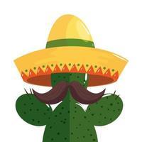 geïsoleerde Mexicaanse cactus met snor en hoed vector ontwerp