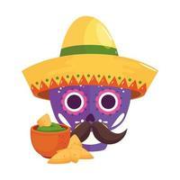 geïsoleerde Mexicaanse schedel met hoed en kom met nacho's vectorontwerp