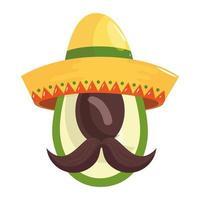 geïsoleerde Mexicaanse avocado met hoed en snor vectorontwerp
