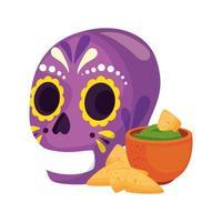 geïsoleerde Mexicaanse schedel en kom met nacho's vectorontwerp