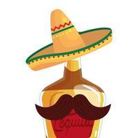 geïsoleerde Mexicaanse tequilafles met hoed en snor vectorontwerp