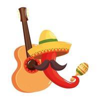 geïsoleerde Mexicaanse chili hoed snor gitaar en maraca vector ontwerp