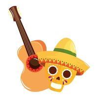 geïsoleerde Mexicaanse schedel met hoed en gitaar vectorontwerp