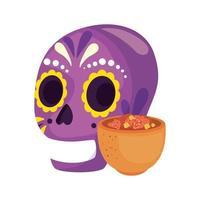 geïsoleerde Mexicaanse schedel met kom vectorontwerp