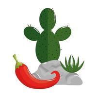 geïsoleerde Mexicaanse cactus en chili vector ontwerp