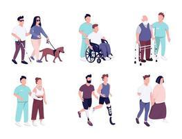 mensen met een handicap activiteiten egale kleur vector gezichtsloze tekenset