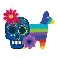 geïsoleerde Mexicaanse schedel met bloemen en pinata vectorontwerp