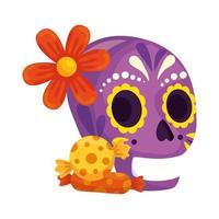 geïsoleerde Mexicaanse schedel met bloem en snoepjes vector ontwerp