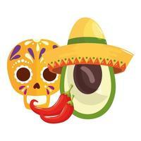 geïsoleerde Mexicaanse schedelchillis en avocado met hoed vectorontwerp