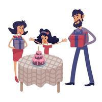 familie vieren kind verjaardag platte cartoon vectorillustratie