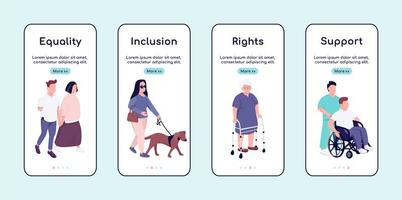 mensen met een handicap gelijkheid en ondersteuning onboarding mobiele app scherm platte vector sjabloon
