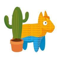 geïsoleerd Mexicaans pinata en cactus vectorontwerp