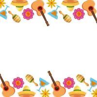 Mexicaanse gitaren cocktails maracas en bloemen frame vector ontwerp