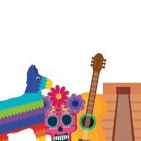 geïsoleerde Mexicaanse pinata schedel gitaar en piramide vector ontwerp