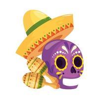 geïsoleerde Mexicaanse schedelhoed en maracas vectorontwerp