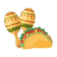 geïsoleerd Mexicaans maracas en taco vectorontwerp
