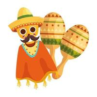 geïsoleerde Mexicaanse ponchoschedel met hoed en maracas vectorontwerp