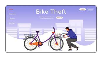 fietsdiefstal bestemmingspagina egale kleur vector sjabloon