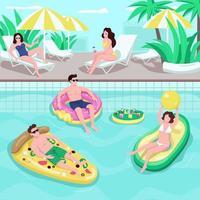 zwembad partij egale kleur vectorillustratie vector