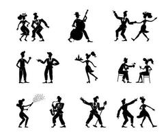 retro vrouwen en mannen zwarte silhouet illustraties kit